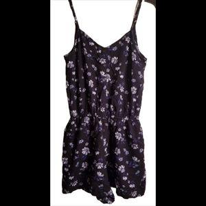 Black floral v-neck cami romper shorts w pockets